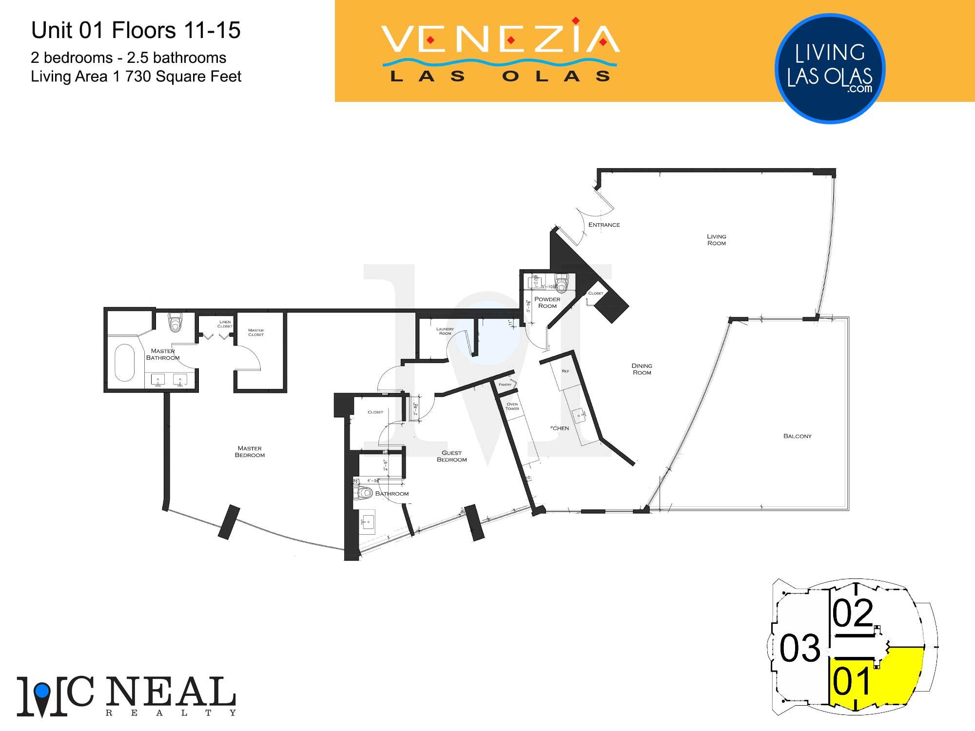Venezia Las Olas Floor Plans 11-15 Unit 1