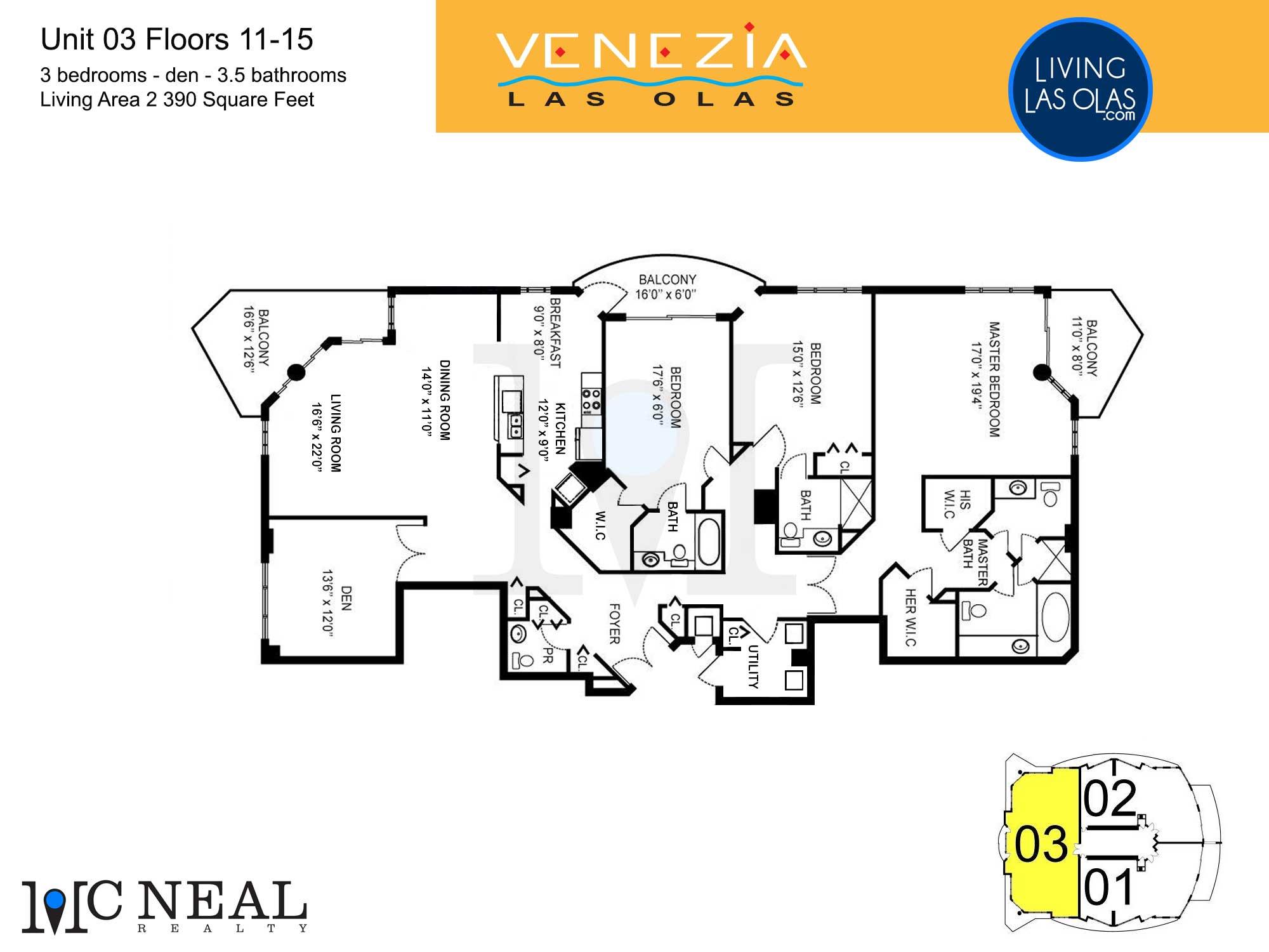Venezia Las Olas Floor Plans 11-15 Unit 3