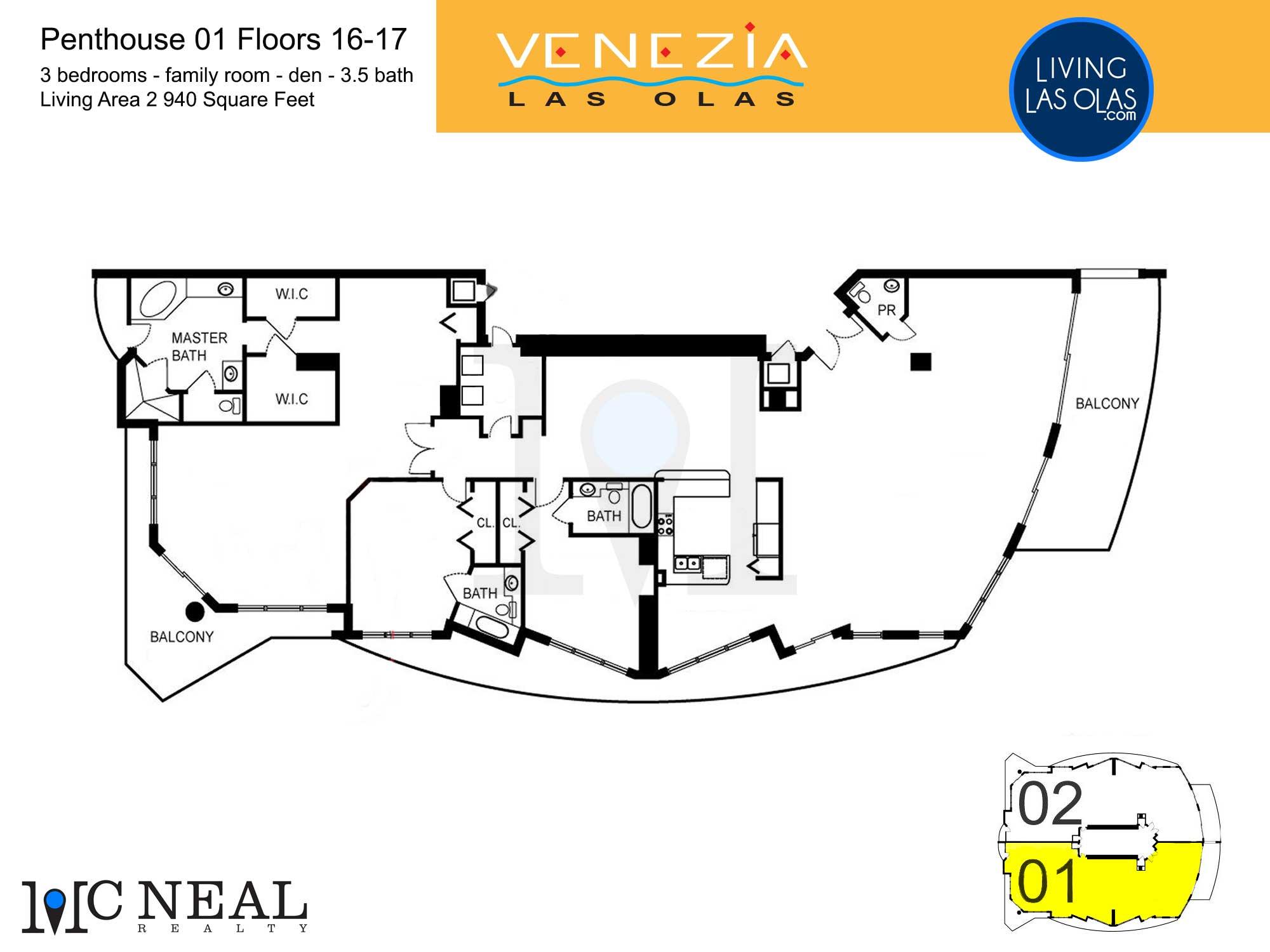 Venezia Las Olas Floor Plans 16-17 Penthouse 1