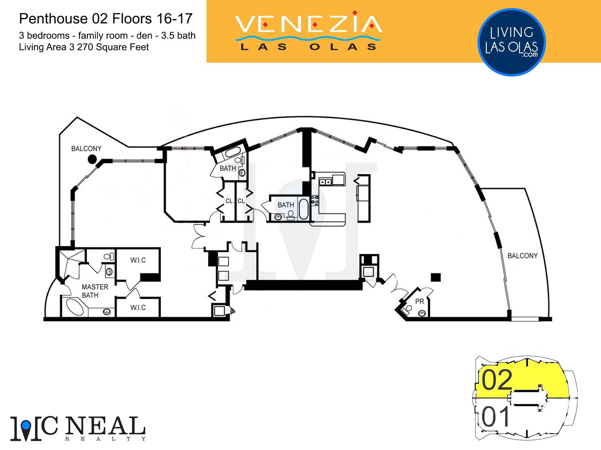 Venezia Las Olas Floor Plans 16-17 Penthouse 2