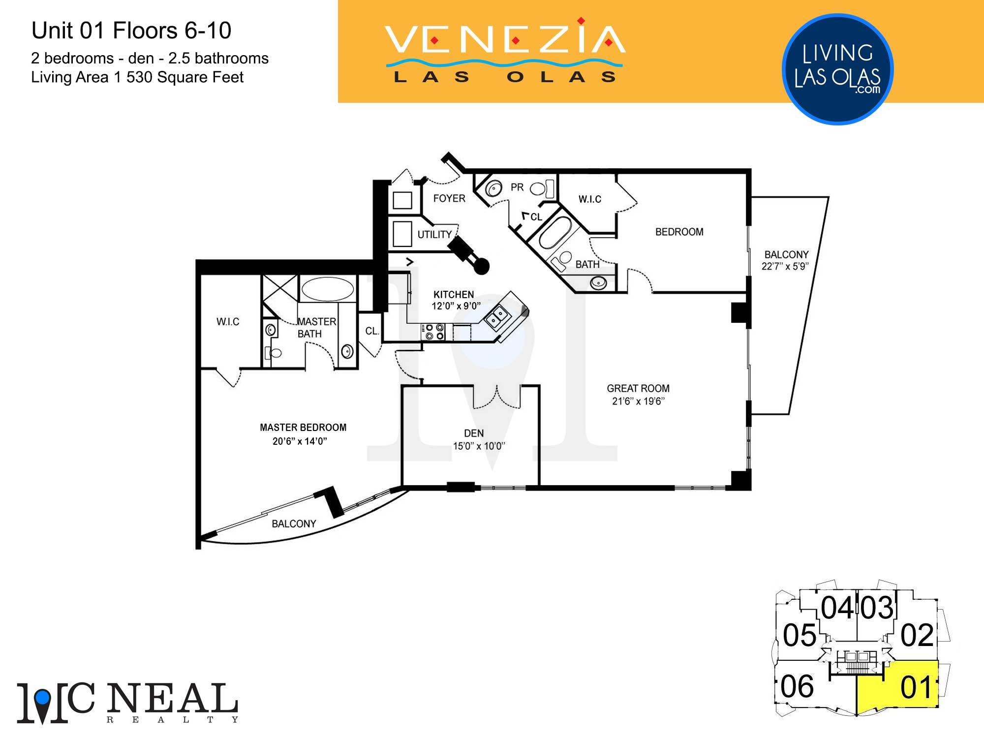 Venezia Las Olas Floor Plans 5-10 Unit 1