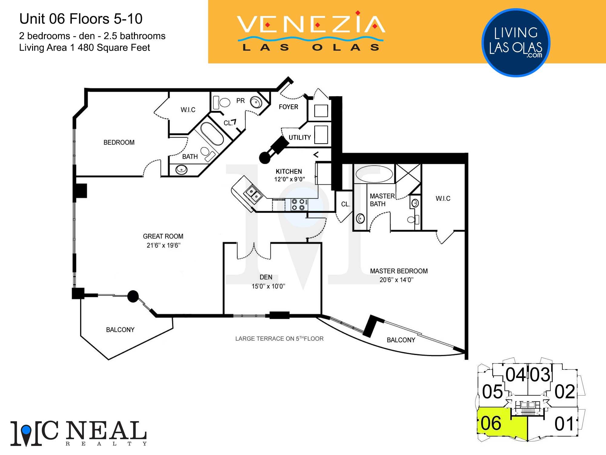 Venezia Las Olas Floor Plans 5-10 Unit 6