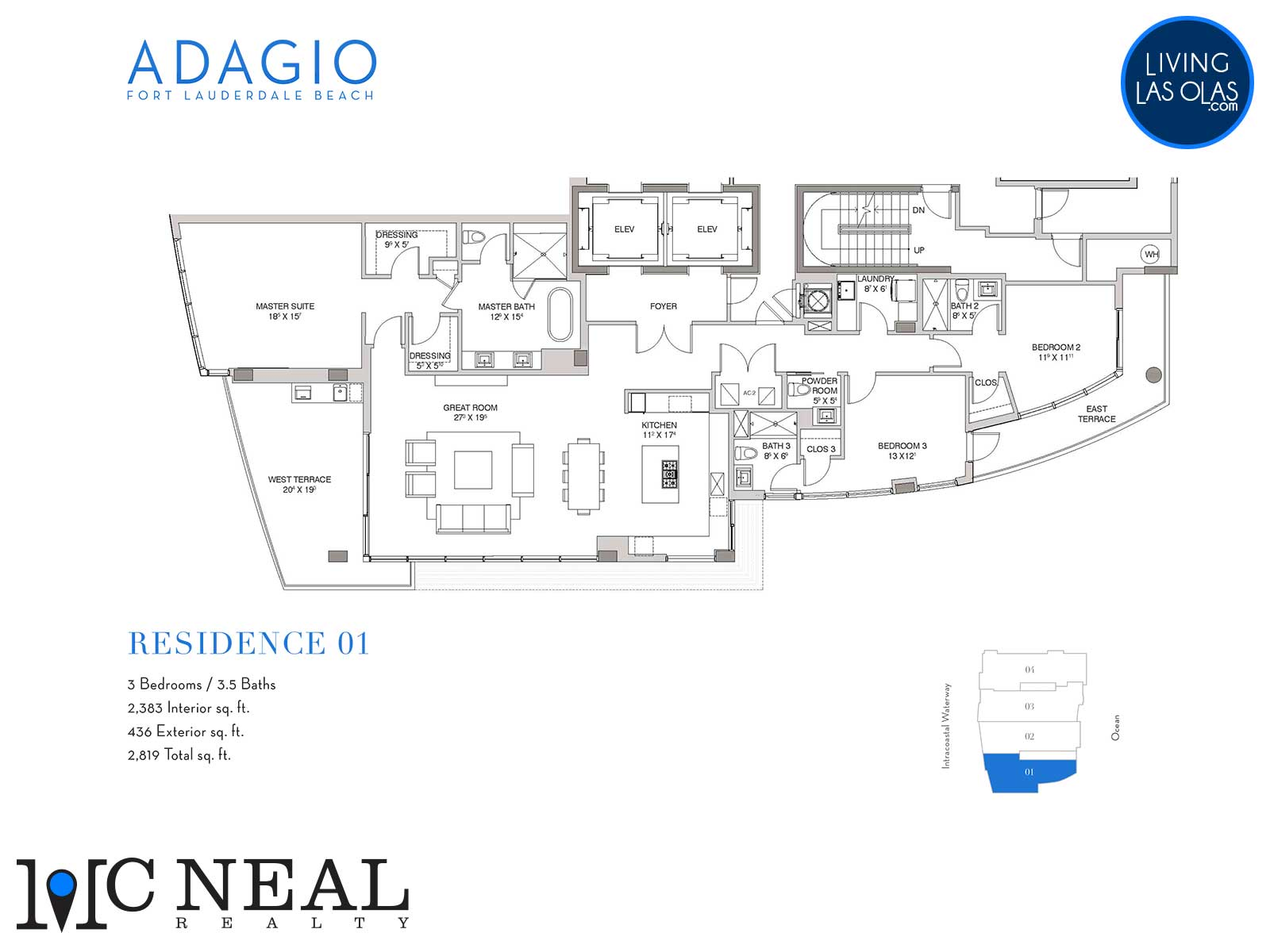 Adagio Fort Lauderdale Beach Condos Floor Plans Residence 01