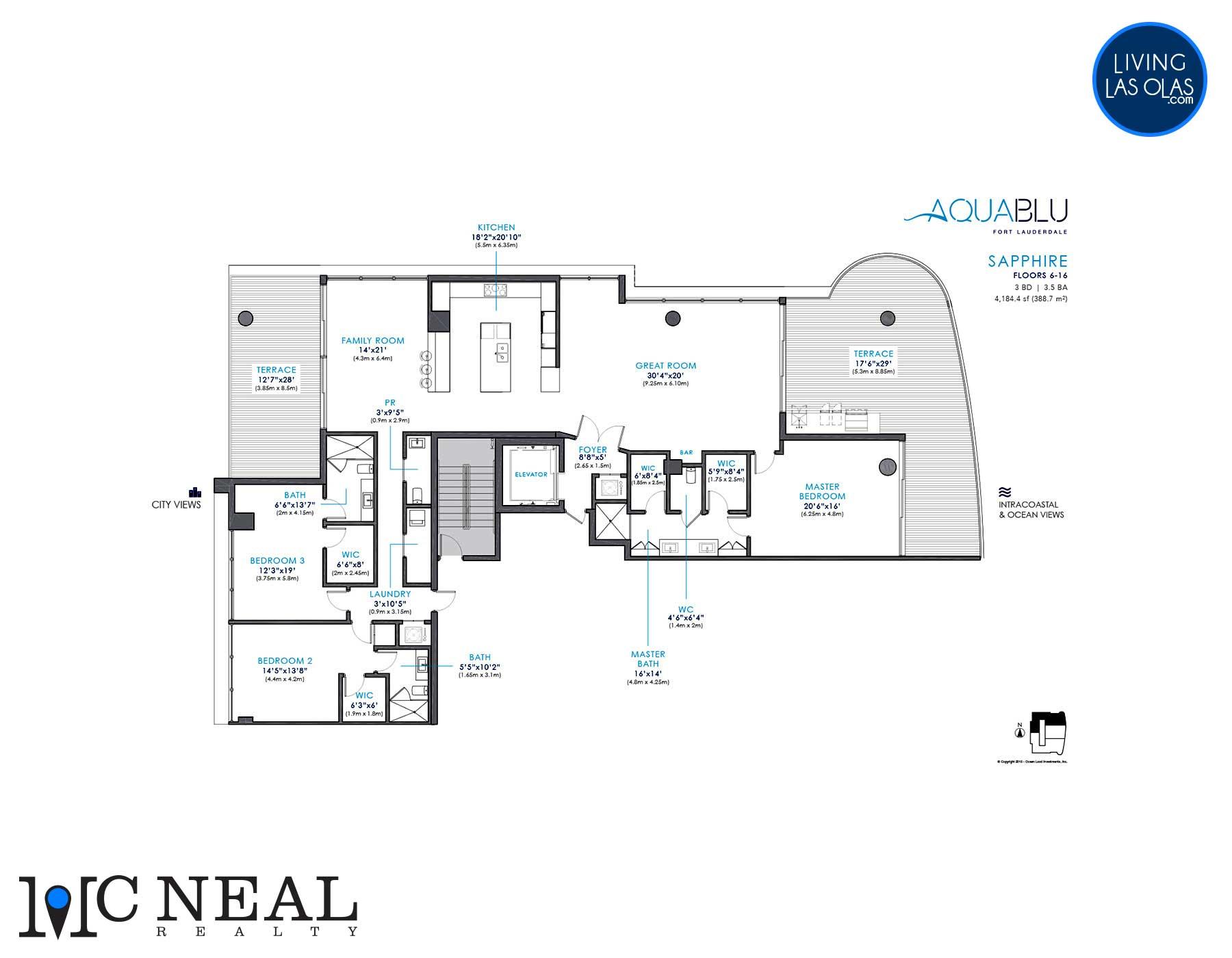 AquaBlu Fort Lauderdale Floor Plan Sapphire