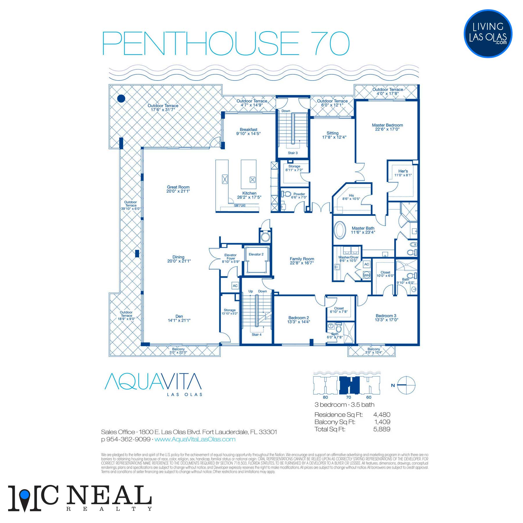 AquaVita Las Olas Floor Plans Penthouse 70