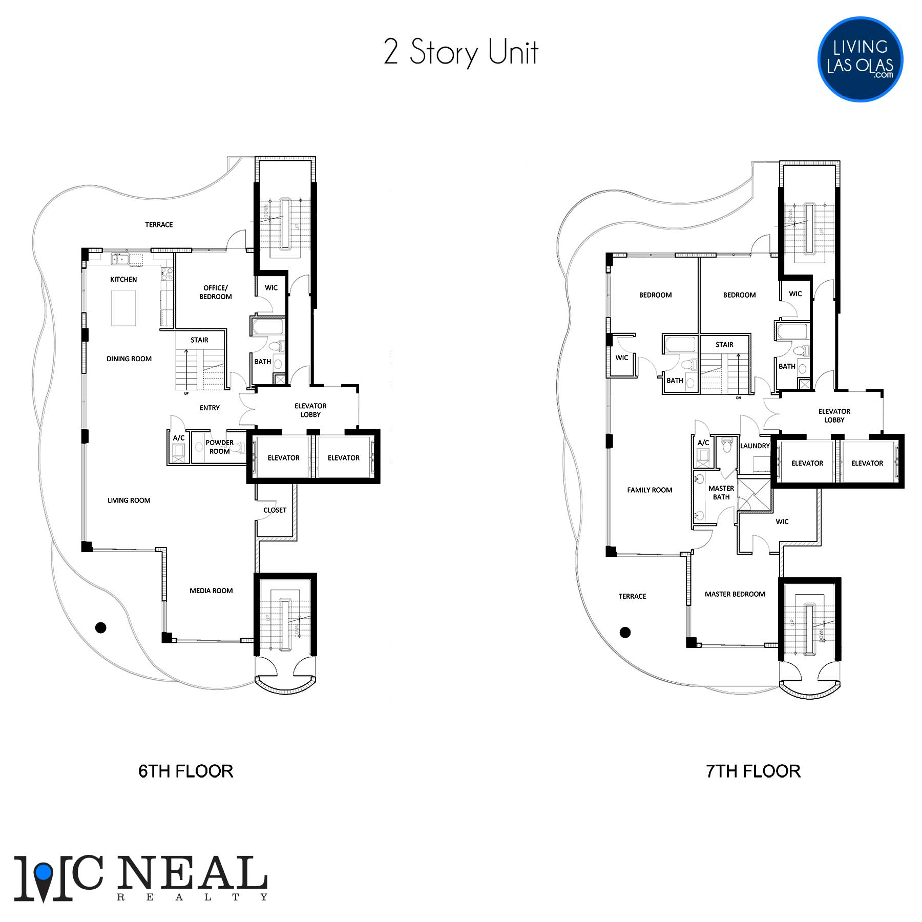 The Wave On Bayshore Floor Plan 601-701 2 Story Unit